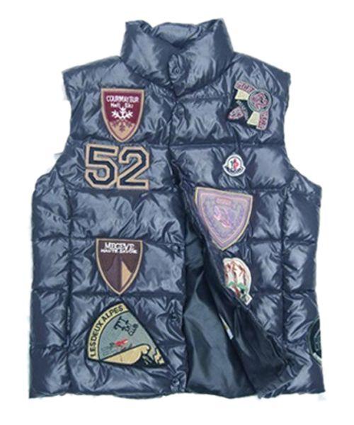 e32ec3d1f Moncler Multiple Logo Women Down Vest Short Blue Wholesale the newest