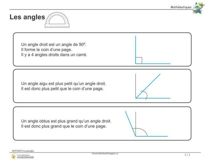 Affiche-Les angles - Les trésors de Charlemagne Ce document vous servira de référence pour la notion des angles. Vous pouvez l'afficher en classe ou l'inclure dans vos cahiers de notions.   2e cycle, 3e année, 4e année   #Affiches #Mathématiques#affiche #angle #Mathématique #primaire #mesure