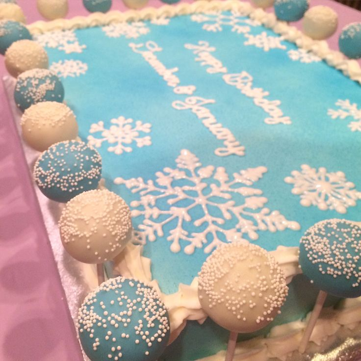 Winter Birthday Sheet Cake - Snowflake birthday sheet cake with cake pop accents by 2bi Cakes.