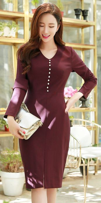 StyleOnme_Pearl Detail Front Slit Hem V-Neck Dress #winered #fallcolor #pearl #koreanfashion #feminine #kstyle #stylish #falltrend #kfashion #slit #dress