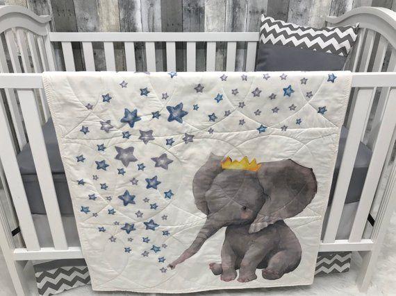Baby Nursery Set Baby Toddler Blanket Elephant Chevron