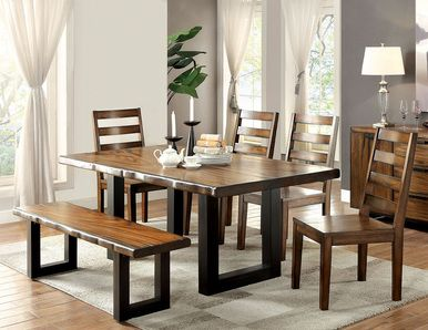 Furniture Of America CM3606T Tobacco Oak Dining Table Set. Industrial Style  ...