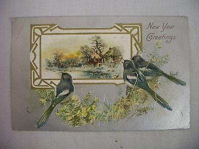 VINTAGE EMBOSSED NEW YEAR POSTCARD BIRDS PEERING AT BEAUTIFUL WINTER SCENE 1910