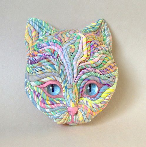 Pastel Cat Sculpture, made with polymer clay