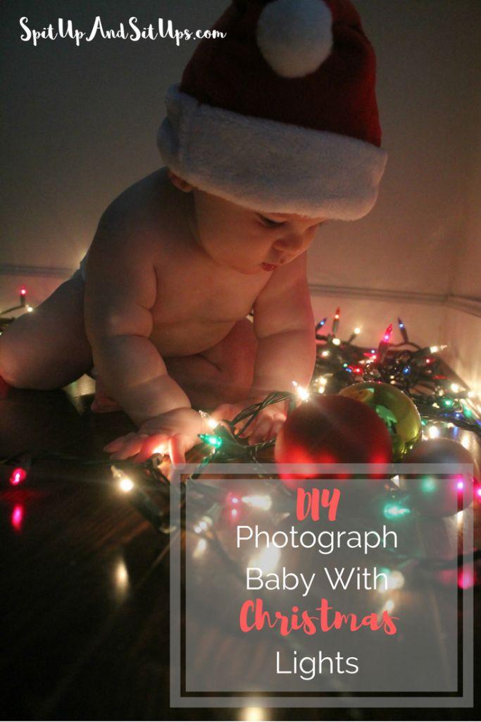 DIY Photograph baby with Christmas lights, Christmas lights DIY photoshoot, do it yourself photo with baby, Christmas, baby christmas, baby's first christmas