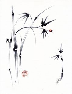 Lovely Day Original Sumie Ink Painting Bamboo and by BeccasPlace
