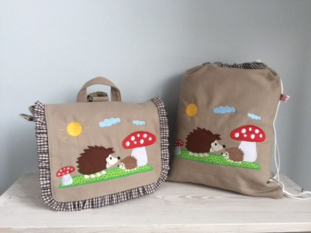 Kindergartentaschen - Zauberhaftes Set Tasche u. Turnbeutel- Igel!  - ein Designerstück von Goldfisch17 bei DaWanda