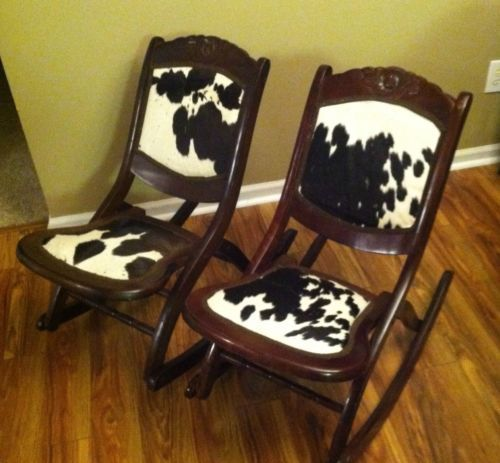 A Pair Of Antique Cowhide Western Rocking Chairs Folding Rocker Set Ranch Home 2
