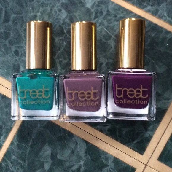 Treet chemical free long lasting nail polish lot Really sure colors. All brand new. Chemical free. Really long lasting. Retail for $30 each. Treet Makeup