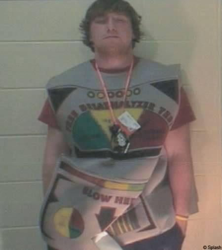 De man verkleed als blaastest die werd gearresteerd voor rijden onder invloed