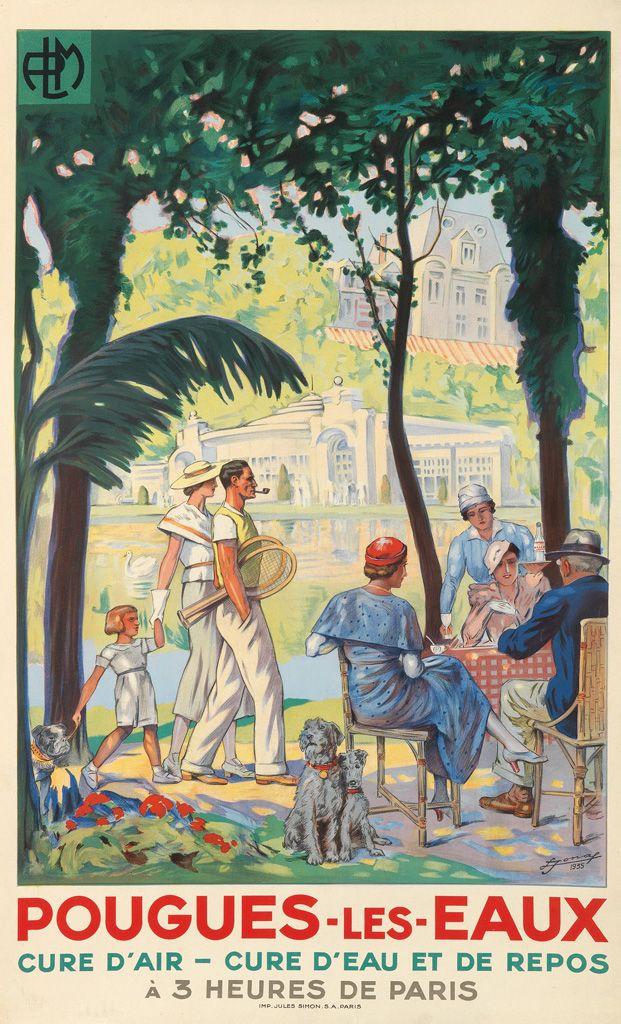 Vintage RailwayTravel Poster - Pougues-Les-eaux - 1935  - by Lucien-Hector Jonas…