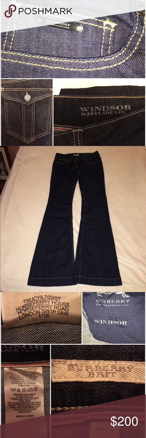 NWOT Burberry Brit Windsor Flare Leg Jeans NWOT Burberry Brit size 27 Windsor Flare Leg dark wash jeans. 5 pocket, backs button. These are a nice flattering jean!! Burberry Jeans Flare & Wide Leg