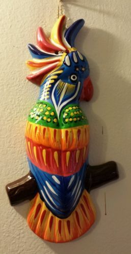 "Wow 13"" Colorful Macaw Terracota wall decoration multicolor feathers."