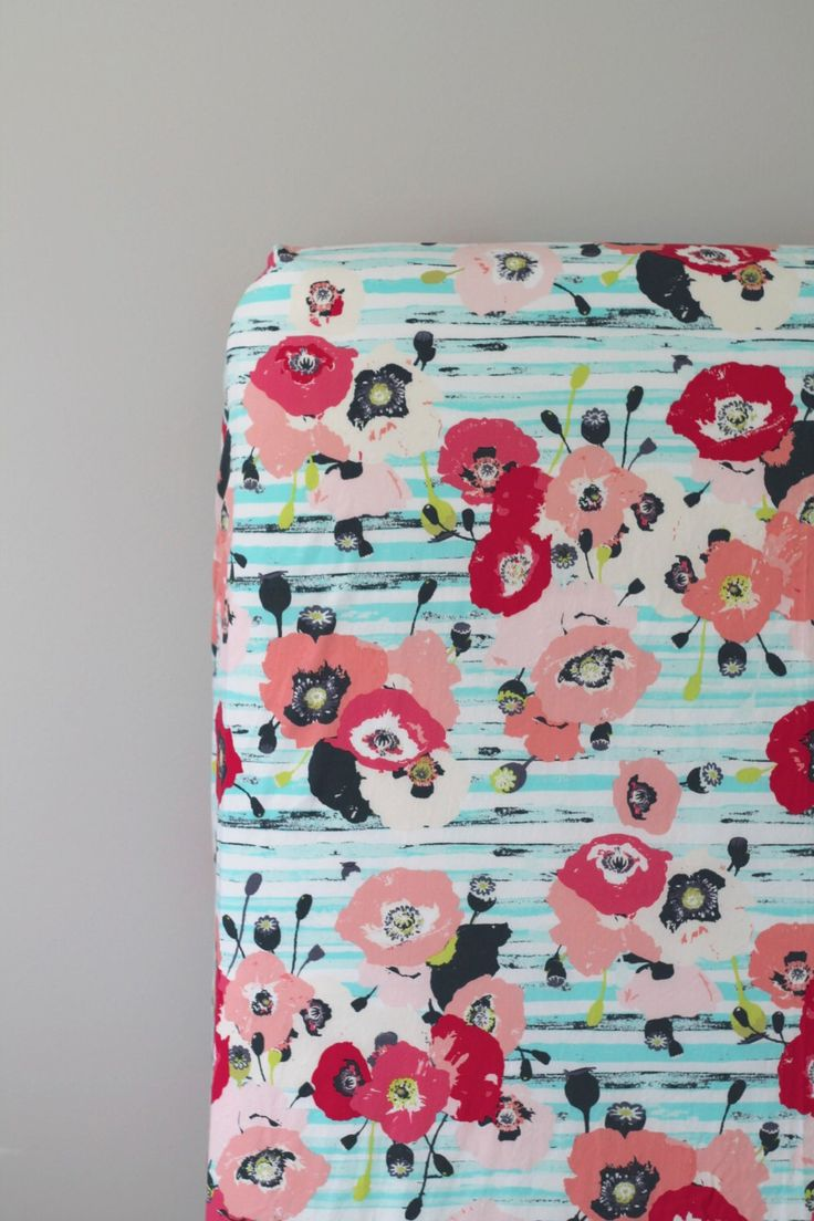 Floral Fitted Crib Sheet Aqua Coral Pink Navy And