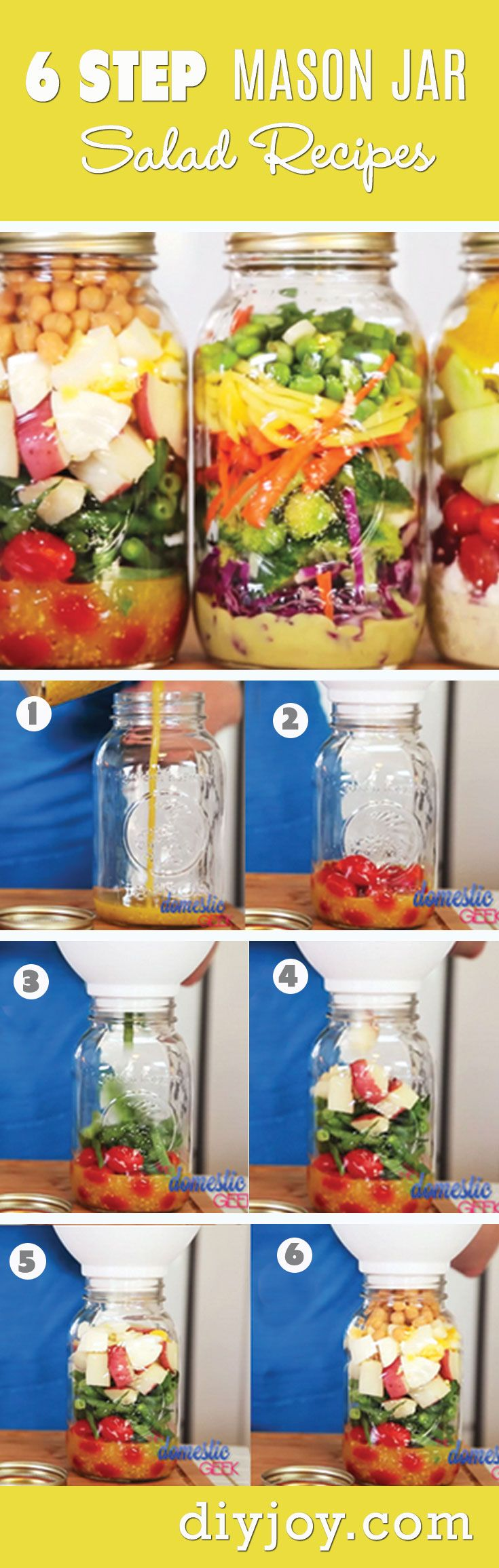 Mason Jar Salad Recipes - Recipes in A Jar and Easy Lunch Ideas