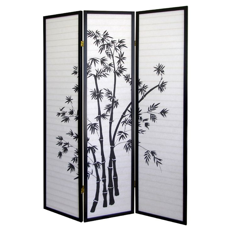 3 Panel Room Divider Bamboo (Green) - Ore International