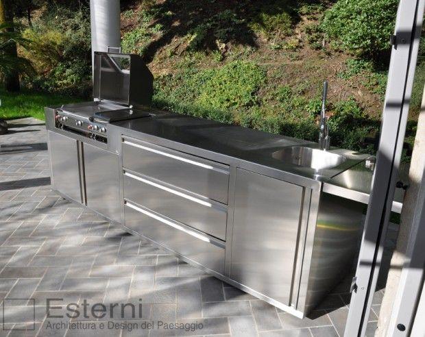 Cucina da esterno, in acciaio, progetto a misura, Esterni Design ...