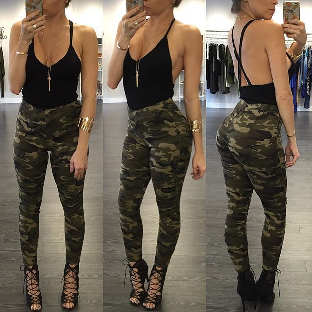 Beautiful Dayana Thomas  Army Camo Pants HampM Shirt Calvin Klein Jean Jacket