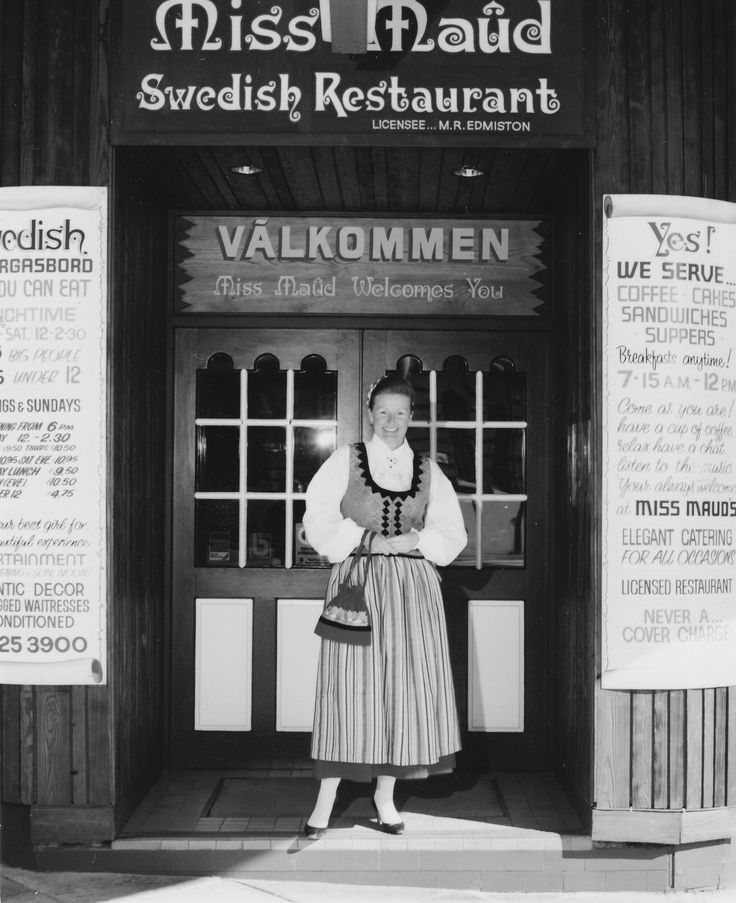 1973   Opening Pier Street Restaurant - Miss Maud in Swedish national dress.