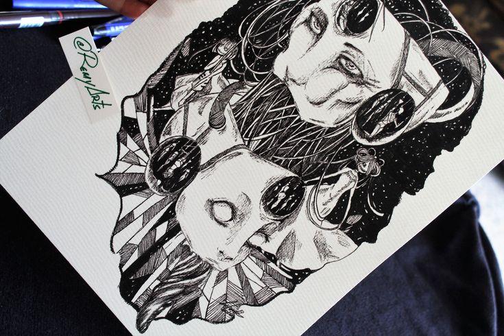 """remyartsAltruism... Su nombre y significado.. Ninguno en realidad. Amo crear y muy poco de lo que hago tiende a tener un tema fijo. (O no intencionalmente) Es como..""""nacer"""" no lo pides pero existes. 😂  #instaart #instaartist #art #artist #illustration #original #inkwork #artwork #ink #creative #myart #sketchbook #moleskine #surreal #originalart #monochrome #centipede #blackandwhite #remyarts"""