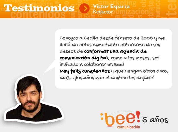 ¡5 años comunicando mejor tus ideas! Gracias Víctor por tu testimonio ;) #culturabee