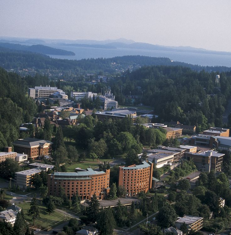 Aerial view of the Western Washington University campus in Bellingham, WA. Where I went to college, and met my love.