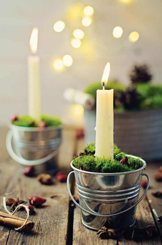 cute little holiday candles...tiny tin bucket filled with sand or pebbles, insert a candle, add moss and viola! adorable!