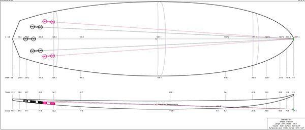 Hand shaped 6'8 surfboard design.