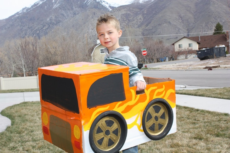 Sweet ride! Add some flames to your DIY cardboard car!