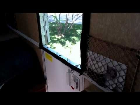 ▶ Screen Door And Other Ideas For A-frame Camper - YouTube by the hamguy - great ideas!!