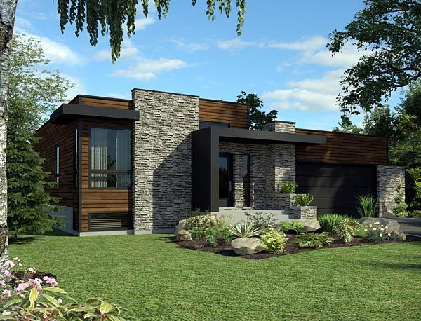 House Plan 50345 | Contemporary Plan with 1277 Sq. Ft., 2 Bedrooms, 1 Bathrooms, 2 Car Garage