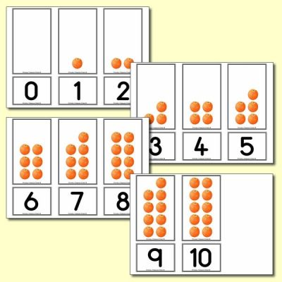 Orange Number Shapes Matching Cards 0 to 10