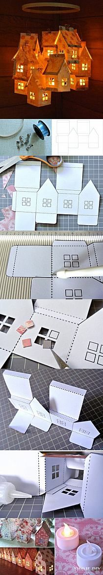 Paper houses mobile Christmas DIY
