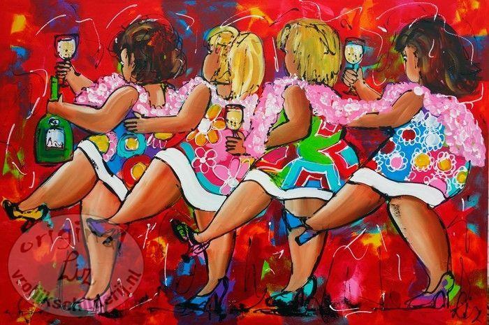 Vrolijk Schilderij, bloemen, abstract, schilderij, Dames polonaise