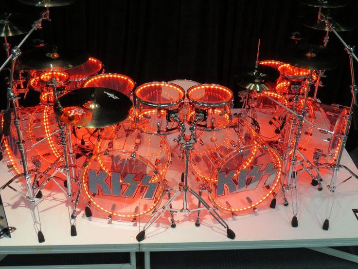 Eric Singer's Joint Kit (quad kick version) Smoke Acrylic Drum Kit w/ Internal Drumlites