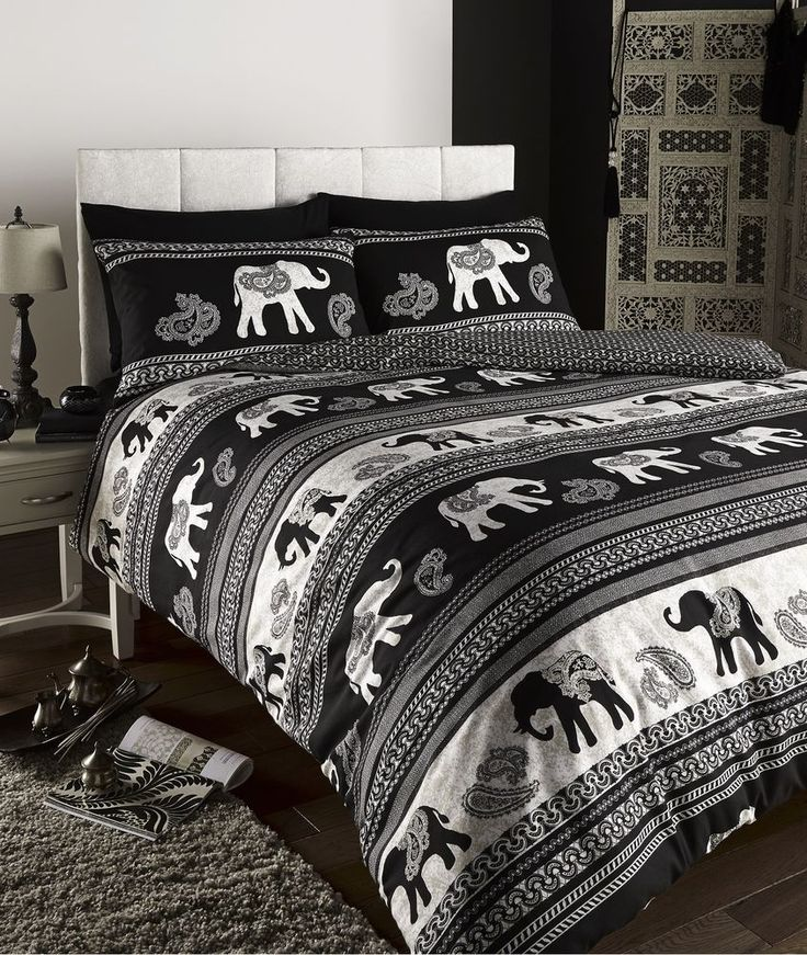 EMPIRE INDIAN ELEPHANT ANIMAL PRINT KING BED DUVET QUILT COVER BEDDING SET BLACK in Home, Furniture & DIY, Bedding, Bed Linens & Sets | eBay