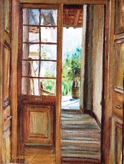 """""""hacia el patio interior"""".... òleo sobre tela"""