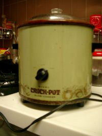 70s era crock pot.  My mom had this one just like this... gave it to me years later.  I still use it today!  It'll outlast me, I'm sure.