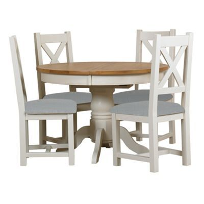 Debenhams Oak And Painted Wadebridge Round Extending Dining Table Set Of 4 Chairs