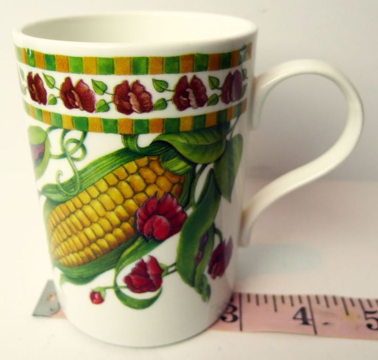 Fresh #Vegetables #CrownTrent #Gardenia Coffee Cup #Staffordshire England Corn Beans