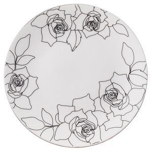 Silver Rose Ceramic Pie Plate
