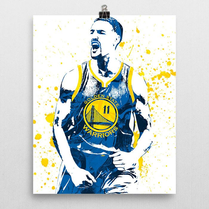 Klay Thompson poster. Thompson is an American professional basketball player for the Golden State Warriors of the National Basketball Association (NBA). THe played college basketball for three seasons