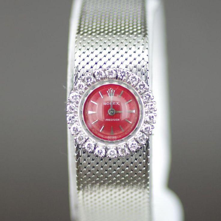 【中古】ROLEX(ロレックス) プレシジョン ダイヤベゼル 1番台 クオーツ K18WG レディース レッド文字盤時計/新品同様・極美品・美品の中古ブランド時計を格安で提供いたします。