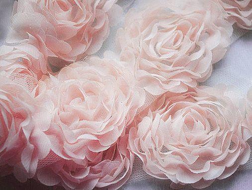 yourperfectgifts   1 Yard Chiffon Rose Lace Trim Appliqué Peach Pink 3D Bridal Wedding Camellia Ruffled Flower FREE Combine Shipping US LA017