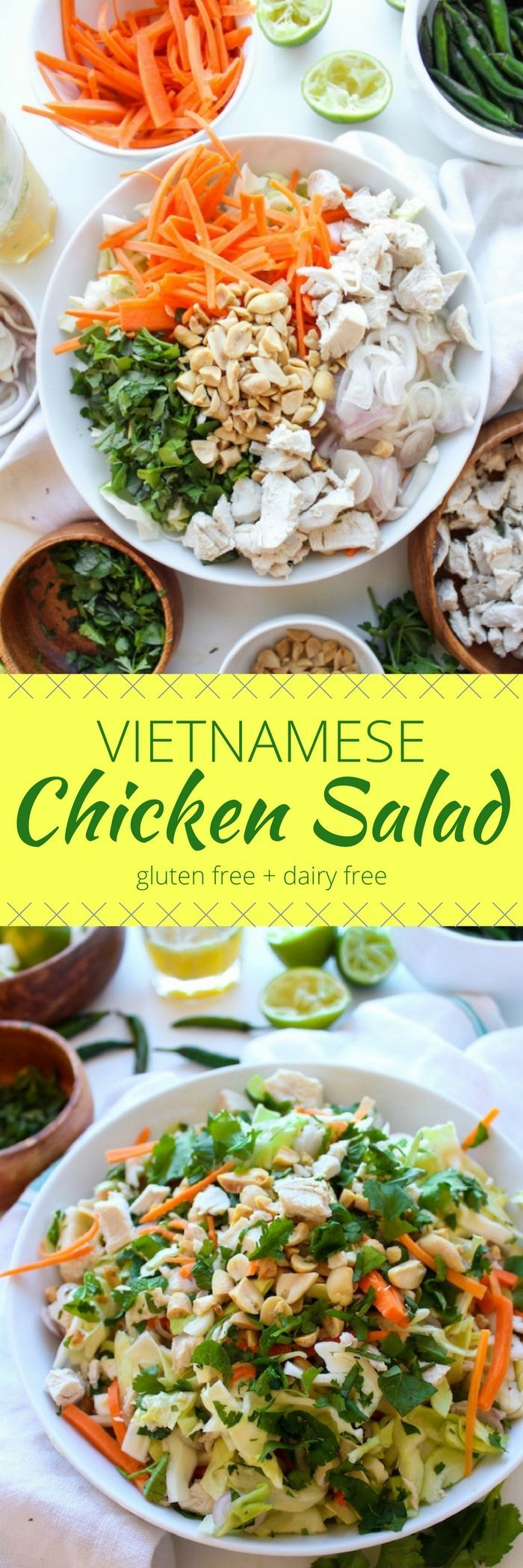 Vietnamese Chicken Salad with poached or leftover chicken, cabbage, carrots, fresh herbs and a tangy chili lime dressing. Gluten Free