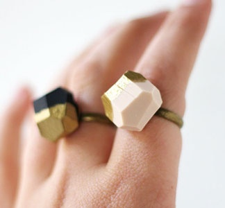 i have one & love it! / dipped geo rings / a merry mishap: Fashion Outfit, Cocktails Rings, Pale Pink, Black White, Black Gold, Gold Dipped, Gold Dips, Dips Geo, Geo Rings