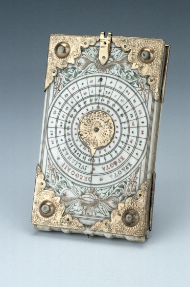 "Diptych Dial, by Thomas Tucher, Nuremberg, c. 1620. ""Diptych dials are portable instruments, usually made from ivory. They were mainly produced in Nuremberg from the late fifteenth century onwards. They are based on the principles of vertical and horizontal sundials."""
