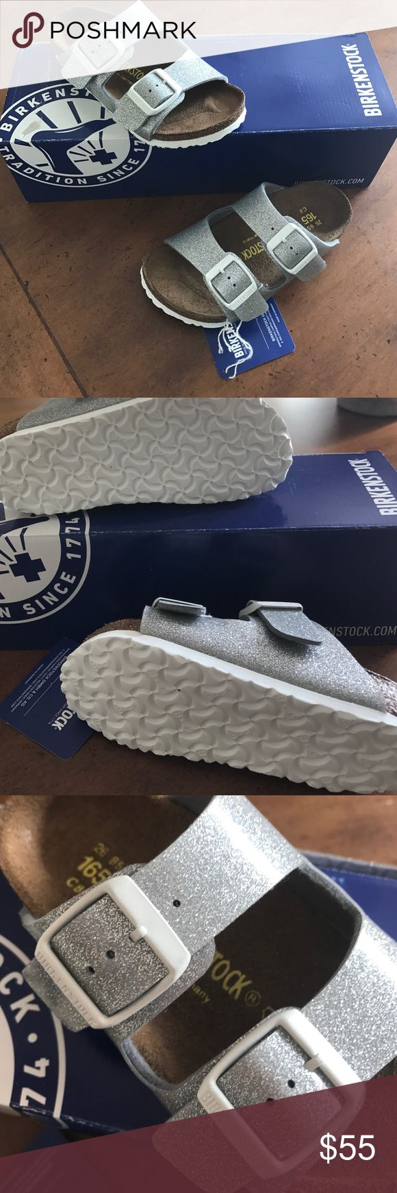 NWT Birkenstock Arizona Kids Magic Galaxy Silver Absolutely adorable Birkenstock sandals in a metallic/glittery silver your little one will love! They are so precious, but sadly they are too small for my little girl. Never worn! NWT and box! Birkenstock Shoes Sandals & Flip Flops