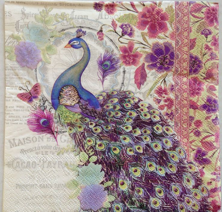 4 Paper Napkins Decoupage Bella Peacock Floral Lavender