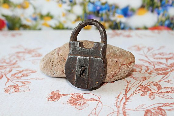 Old padlock. Archaeological finds.